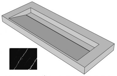 Solid-S Marble wastafel solid surface zwart marmer mat zonder kraangat met solid cover B120xD45xH8 1208953451