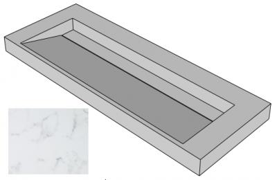 Solid-S Marble wastafel solid surface zwart marmer mat zonder kraangat met solid cover B140xD45xH8 1208953452 (kloon)