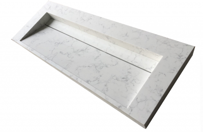 Solid-S Marble wastafel solid surface wit marmer mat zonder kraangat met solid cover B140xD45xH8 1208953455