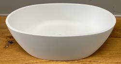 Solid-S Mare opbouwwastafel kom ovaal mat wit 45x32cm zonder overloop exclusief solid surface plug 1208953459