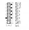 SB Universale inbouwdeel thermostaatkraan met 4 stopkranen en 1 omstelkraan