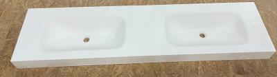 OUTLET Solid-S solid surface wastafel 180x45x10cm mat wit - 2 wasbakken EX SHOWROOM 1208953568