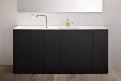 Makro LIGHT30 staand badkamermeubel mat zwart met solid surface wastafel mat wit B180xH85xD40cm