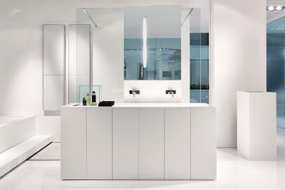 Makro MODULO30 staand badkamermeubel solid surface mat wit met solid surface wastafel mat wit B150xH85xD40cm
