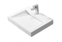 Solid-S Quatra wastafel solid surface mat wit zonder kraangat 60x45,5cm 1208775682