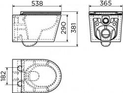 Clou InBe 2 wandtoilet met toiletzitting versie 53 cm wit ker. technische tekening
