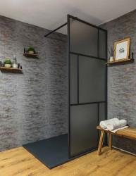 Flavio Suzhou inloopdouche 140x210 cm mat glas - Mat Zwart Kader