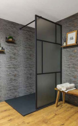 Flavio Suzhou inloopdouche 120x210 cm mat glas - Mat Zwart Kader