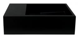Solid-S Fontein solid surface mat zwart B36xD18xH10 cm met cover model links zonder kraangat 1208954157
