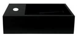 Solid-S Fontein solid surface mat zwart B36xD18xH10 cm met cover model links met kraangat 1208954158