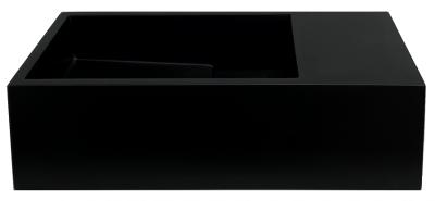 Solid-S Fontein solid surface mat zwart B36xD18xH10 cm met cover model rechts zonder kraangat 1208954164