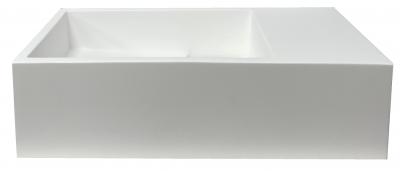 Solid-S Fontein solid surface mat wit B36xD18xH10 cm met cover model rechts zonder kraangat 1208954165
