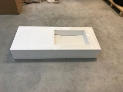 OUTLET Solid-S Miami Small solid surface vrijhangende wastafel 120x50x20cm mat wit - 1 wasbak midden