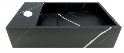 Solid-S Marble solid surface fontein B40xD22xH10cm marmer mat zwart links met kraangat 1208954633