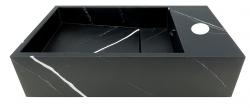Solid-S Marble solid surface fontein B40xD22xH10cm marmer mat zwart rechts met kraangat 1208954634