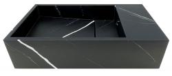 Solid-S Marble solid surface fontein B40xD22xH10cm marmer mat zwart rechts zonder kraangat 1208954635