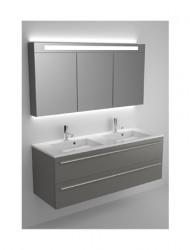 Riho Broni meubelset 140cm 2x wasbak 2 laden Silk, wit spiegelkast 2xlamp BR140Z01Z01S27