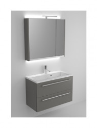 Riho Scala meubelset 80cm 1 kraangat 2 laden Zwart spiegel en licht SC080R06R06S05