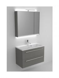Riho Scala meubelset 80cm 1 kraangat 2 laden Zwart spiegelkast en lamp SC080R06R06S06