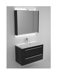 Riho Senso meubelset 80cm 1 krg 2 laden Wit acryl spiegelkast 06 SE080A01A01S07