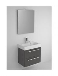 Riho Slimline meubelset 60cm 1 kraangat 2 laden Zwart acryl spiegelkast en lamp SL060A06A06S02