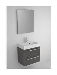 Riho Slimline meubelset 60cm 1 kraangat 2 laden Zwart spiegelkast en lamp SL060R06R06S02
