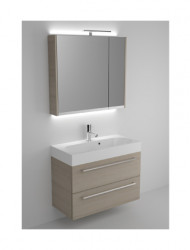 Riho Slimline meubelset 80cm 1 kraangat 2 laden Zwart acryl spiegel en licht SL080A06A06S05
